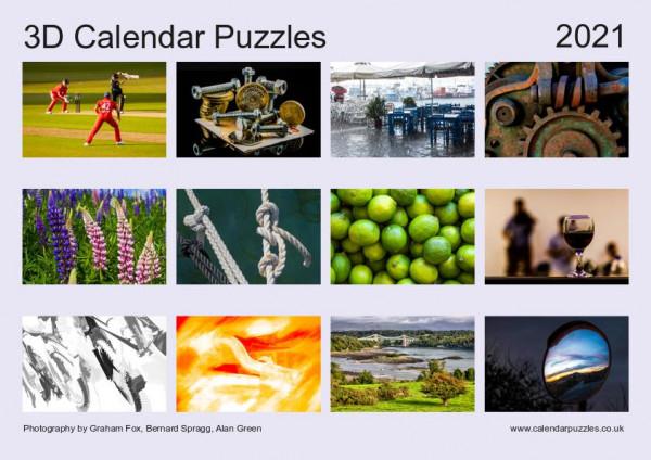 3D Calendar Puzzles 2021 back cover