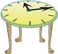 Table with a clock face on its top